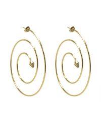 Noir Jewelry - Metallic Cindy Spiral Hoop Pave Pyramid Earrings - Lyst