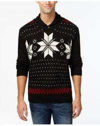 Weatherproof | Black Vintage Fair-isle Shawl-collar Sweater for Men | Lyst