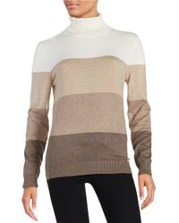Calvin Klein | Natural Colorblocked Turtleneck | Lyst