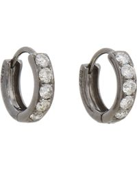 Eva Fehren - Gray Grey Diamond White Gold Huggies Hoops - Lyst