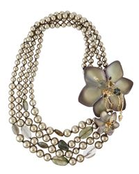 Alexis Bittar | Metallic Pearly-Strand Lucite Flower Statement Necklace for Men | Lyst