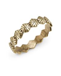 Giles & Brother | Metallic Textured Hexagon Bangle Bracelet | Lyst