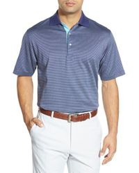 Peter Millar | Blue 'jade' Jacquard Egyptian Cotton Lisle Polo for Men | Lyst