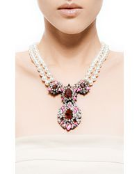 Shourouk | Purple Swan Crystal and Double Pearl Necklace | Lyst