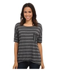 Michael Stars - Gray Silver Lake Stripe Elbow Sleeve Hi Low W/ Pocket - Lyst