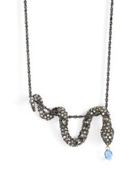 Alexis Bittar | Blue Draped Serpent Pendant Necklace - Gunmetal | Lyst