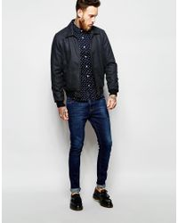 ASOS | Blue Skinny Shirt With Polka Dot In Navy With Long Sleeves for Men | Lyst