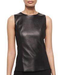 St. John - Black Napa Leather Combo Shell - Lyst