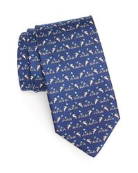 Ferragamo | Blue Rabbit Print Silk Tie for Men | Lyst