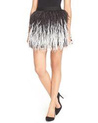 Alice + Olivia - Black 'lauryn' Ostrich Feather Miniskirt - Lyst