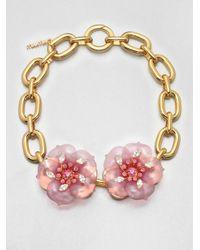 Miu Miu - Metallic Flower Chain Link Necklace - Lyst