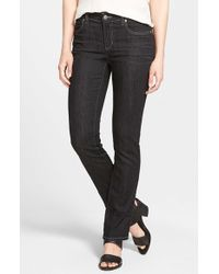 Eileen Fisher - Black Straight Leg Stretch Jeans - Lyst