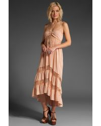 Shakuhachi | Pink Lace Paneled Maxi Dress | Lyst