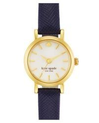 kate spade new york | Blue 'tiny Metro' Leather Strap Watch | Lyst