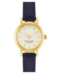 Kate Spade | Blue 'tiny Metro' Leather Strap Watch | Lyst