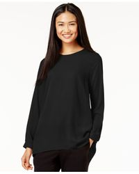Vince Camuto | Black Pleat-back High-low Blouse | Lyst