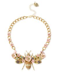 Betsey Johnson | Metallic Gold-Tone Queen Bee Frontal Necklace | Lyst