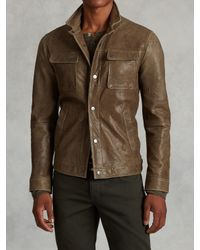 John Varvatos | Green Snap Front Leather Jacket for Men | Lyst