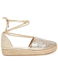 Steve Madden | Metallic Tieup Lace-up Espadrille Flats | Lyst
