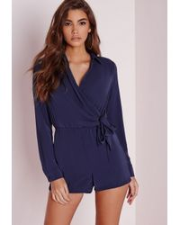 Missguided | Blue Wrap Front Shirt Romper Navy | Lyst