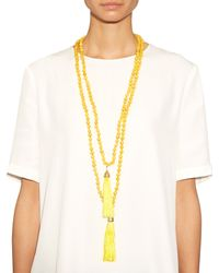 Rosantica By Michela Panero - Yellow Enta Wood And Quartz Double Necklace - Lyst