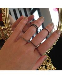 Adornia - Metallic Sterling Silver And Champagne Diamond Midi Ring - Lyst