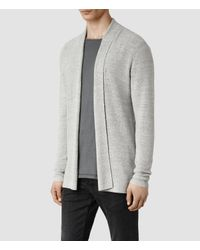 AllSaints - Gray Arden Zip Through Jumper for Men - Lyst