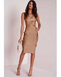 Missguided | Natural Bandage Detail Bandeau Crop Top Camel | Lyst