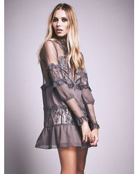 Free People - Gray For Love & Lemons Womens Alexa Mini Dress - Lyst