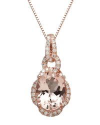 Lord & Taylor | Pink 14k Rose Gold Morganite And Diamond Pendant Necklace | Lyst