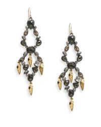 Alexis Bittar - Metallic Elements Glass, Pyrite Doublet & Swarovski Crystal Tiered Chandelier Earrings - Lyst