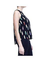 Mauro Grifoni - Black Surf Printed Silk Sleeveless Top - Lyst