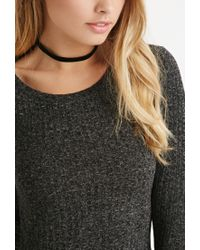 Forever 21 - Gray Ribbed Knit Crop Top - Lyst