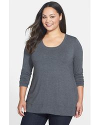 Lyssé | Gray Scoop Neck Jersey Top With Shaping Liner | Lyst