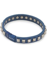 Tateossian | Blue Studded Leather Bracelet | Lyst