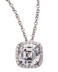 Fantasia by Deserio | Metallic 6.75ct Asscher Cut Cubic Zirconia Pendant Necklace | Lyst