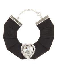 Christopher Kane | Black Love Heart Swarovski Crystal-embellished Grosgrain Choker | Lyst