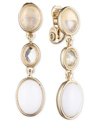 Jones New York | Metallic Gold-tone Triple Oval Clip-on Drop Earrings | Lyst