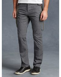 John Varvatos | Gray Cotton Suspender Pant for Men | Lyst