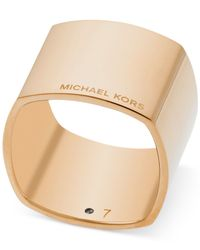 Michael Kors | Metallic Gold-tone Etched Logo Ring | Lyst