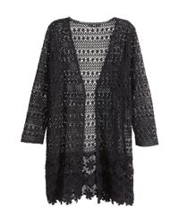 H&M - Black Lace Cardigan - Lyst