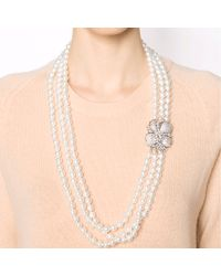 Fantasia Jewelry | White Three Strand Pearl Necklace | Lyst