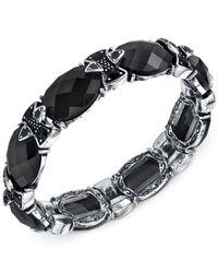 2028 | Silver-tone Jet Black Epoxy Stone Stretch Bracelet | Lyst