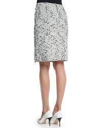 Nina Ricci - Black Tweed Frayed-side Pencil Skirt - Lyst