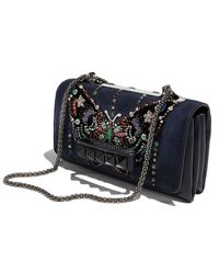 Valentino - Blue Va-Va-Voom Butterfly Beaded Shoulder Bag - Lyst