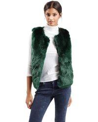TOPSHOP | Green Faux Fur Gilet Vest | Lyst