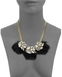 ABS By Allen Schwartz | Black Bitter Not Sweet Jeweled Fur Necklace | Lyst