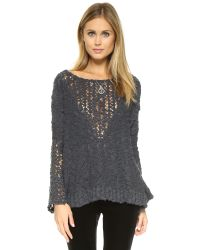 Free People | Gray Pretty Pointelle Vee - Graphite | Lyst