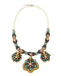 Deepa Gurnani | Multicolor Crystal Beaded Starburst Medallion Necklace | Lyst