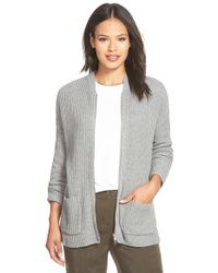 Eileen Fisher | Gray Zip Front Rib Organic Cotton & Cashmere Cardigan | Lyst